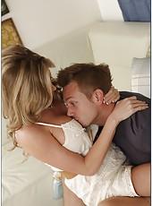 Crazy pornstar Samantha Bill jilling tight sissy and making an awesome blowjob