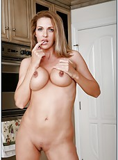 Spicy flapper Roxanne Hall masturbating in kitchen and fucking with husband