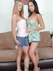 Cute babes Aline and Gianna Lynn working with big juicy pecker all day long