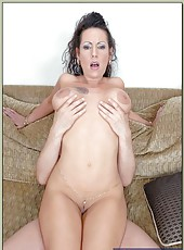 Wonderful milf Anjelica Lauren fingering on the sofa and getting pounded