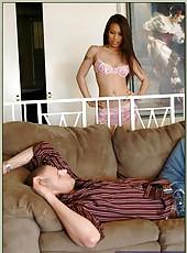 Cool Asian pornstar Luci Thai making a deepthroat and swallowing warm cum