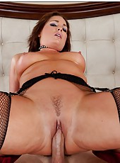 Superior milf Flower Tucci stripping in black stockings and getting nailed
