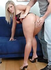 Curious blonde Carmen Kinsley taking off lingerie to make her boyfriend happy