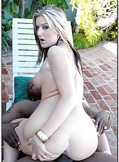 Curvy blonde Daryn Darby prefers sucking big black daggers and eating cum