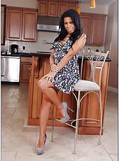 Crazy milf Cassandra Cruz jilling shaved snatch and banging in kitchen