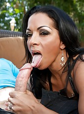 Goodly milf Mercedes Ashley pleasing her neighbor and riding dick outside