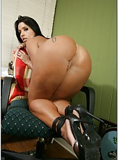 Lovely milf Monica Santhiago masturbating hard and fucking right in office