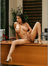 Fancy milf Alexis Amore masturbating in office and enjoying a yummy rod
