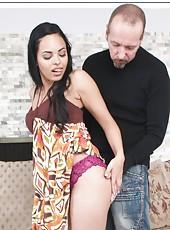 Arresting flapper Angelina Stoli masturbates through panties and makes a blowjob