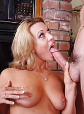 Spoiled curve Ashley Sweet gets satisfied after masturbating and making a blowjob