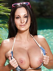 Curious milf Ava Addams getting naked outside and enjoying delicious wieners