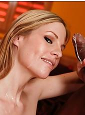Marvelous milf Aimee Addison enjoying a black dagger and eating load