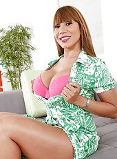 Appealing whore Ava Devine loves posing in lingerie and swallowing daggers