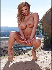 Remarkable milf Shyla Stylez demonstrating tits outdoors and getting a dick