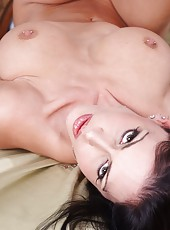 Good looking babe Jessica Jaymes undressing and fucking like a true whore
