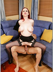 Ravishing hooker Mz. Berlin showing big tits and banging on the sofa