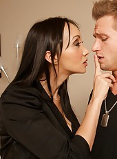 Asian cutie Katsuni having fun with a handsome boy and getting satisfied