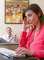 Sara Jay taking off clothes in her office and pleasing a naughty fellow