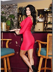 Pretty slut Romi Rain stripping in bar and showing her amazing round ass