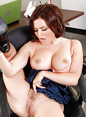 Goodly whore Krissy Lynn masturbating at work and reaching multiple orgasms