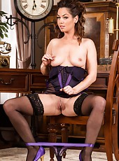 Stunning babe Chrystal Anne masturbating her twat in her sexy lingerie