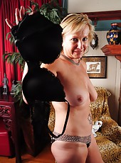 Alluring mature bitch Nicole getting turned on and naked at her home
