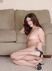 Slutty MILF Alicia Silver spreading her legs and showing her hairy twat