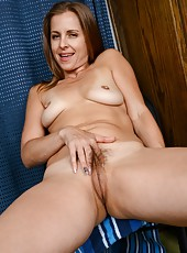 Delightful mature Miss Melrose showing her body that is in a good shape