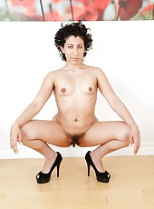 Exceptional mature Kinky Gaga taking off her black dress to have some fun