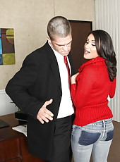 Dark-haired Charley Chase shows off her cock-sucking skills for her boss