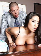 Outstanding brunette Jenaveve Jolie is riding on the big cock of her boss