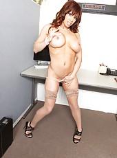 Outstanding office milf Devon Michaels shows her big natural boobies