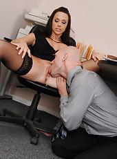 Dark-haired milf in black dress Chanel Preston gets her pussy licked