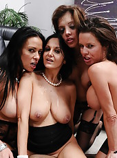 Four hardcore babes with big boobies are banging with their shared boyfriend