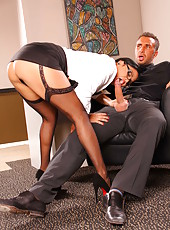 Very big-titty chick Sophia Lomeli is handling this wiener like a pornstar