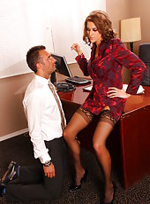 Spicy big-tit pornstar Eve Laurence is banging with her co-worker and getting cum