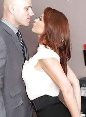 Redhead milf secretary Monique Alexander fuck with her bald boss after titjob