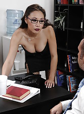 Miko Lee is getting her Asian face covered with thick white sperm