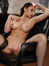 Asian Miko Lee is touching her shaved pussy and posing on the table