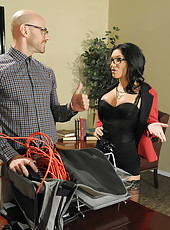 Stunning pornstar Emily B is banging in a hardcore scene with her boss