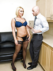 Beauty blonde milf Mellanie Monroe is fucking with her new boss on the leather sofa