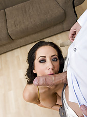Dark-haired milf with tattoos Jayden Jaymes is banging in her asshole to get some cum