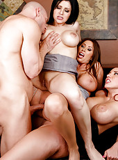 Stunning ladies with big boobies and gorgeous blowjob skills in a hardcore foursome