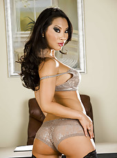 Awesome Asian model Asa Akira poses with naked boobies and pussy