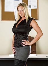 Blonde Devon Lee takes off her tight black dress just to masturbate in her office