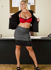 Blonde Devon Lee takes off her tight black dress just to masturbate in her office