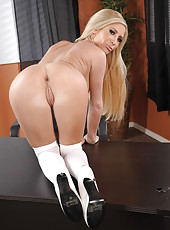 Blonde in black dress Tasha Reign shows off her awesome naked boobies