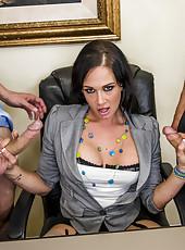 Hardcore pornstar Tory Lane is handling two dicks and swallowing cumshots
