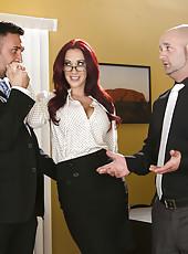 Sweet redhead chick with big boobies Mia Lelani is getting a nice cunnilingus