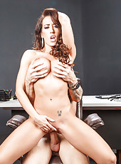 Tattooed milf Capri Cavanni is riding on the big pole of her new fucker